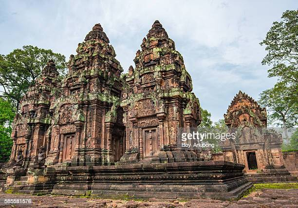 banteay srei temple the red sandstone temple of siem reap, cambodia. - banteay srei stock pictures, royalty-free photos & images