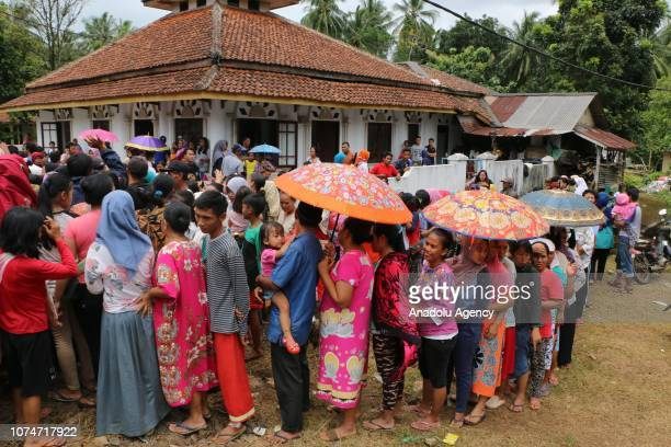 Banten region's residents who were affected from the tsunami are seen after settled in high grounds due to the new tsunami risks because of continued...