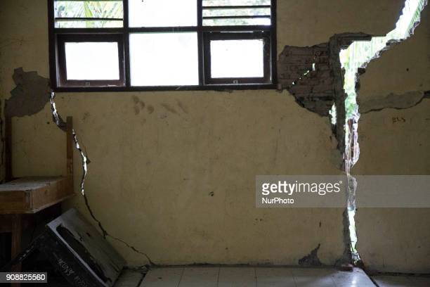 Cracked wall of the damage school Primary School Bantar Panjang located at Dahu VillageSerang almost collapse and without taken care by Banten...