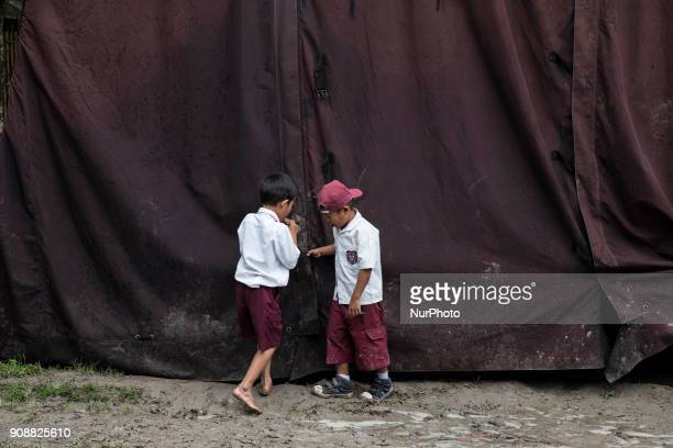 Two students close the tent during rest time of the class Primary School Bantar Panjang located at Dahu VillageSerang almost collapse and without...