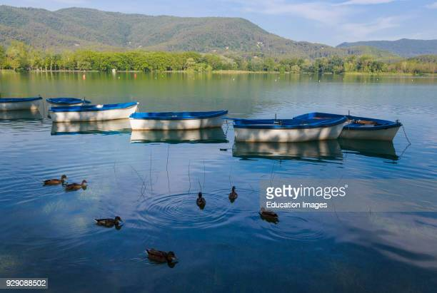 Banyoles, Girona Province, Catalonia, Spain, The Banyoles lake, which was the venue of the 1992 Olympic rowing events.