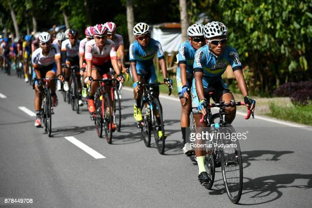 Banyuwangi Indonesia cyclists lead the peloton during stage 7 of the Tour de Singkarak 2017 Limapuluh KotaPadang Panjang 112 km on November 24 2017...