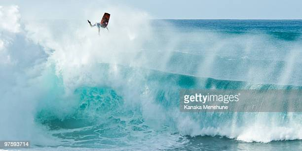 banzai! - waimea bay stock pictures, royalty-free photos & images