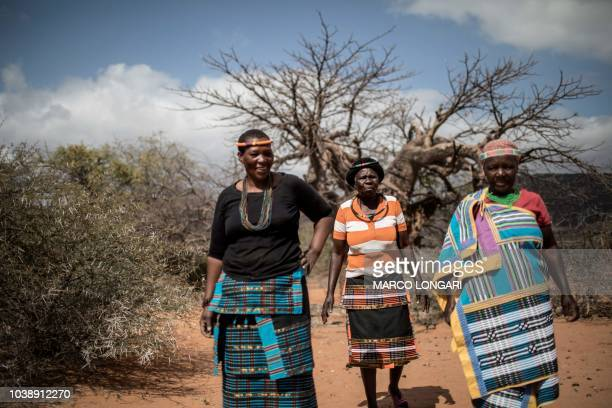 Baobab fruit harvesters Annah Muvhali Cristina Ndou and Elisah Paswana walk in front of a open field where they harvest baobab fruits in the village...