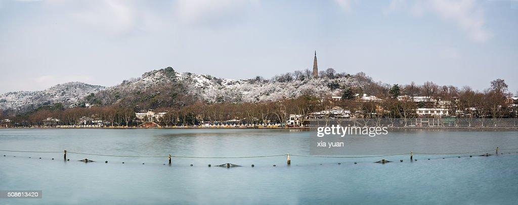 Baochu Pagoda and Baoshi Hill of the West Lake in snow,Hangzhou,Zhejiang,China : Stock Photo