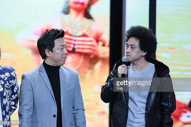 Baoqiang Wang and Bo Huang attend the production conference of Buddies In India on 18th January 2017 in Beijing China