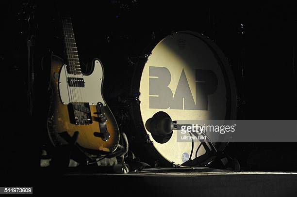 Bap Band Rock music Germany Guitar and DrumSet of the band concert in Saarbruecken Germany