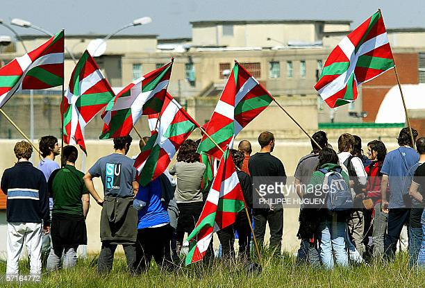 A picture taken 24 April 2004 shows around 300 activists of an association supporting basque prisoners 'Askatasuna' demonstrating in front a the...