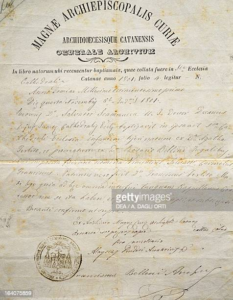 Baptism certificate of Vincenzo Bellini drawn up by the curia of Catania Italy November 4 1801 Catania Museo Civico Belliniano