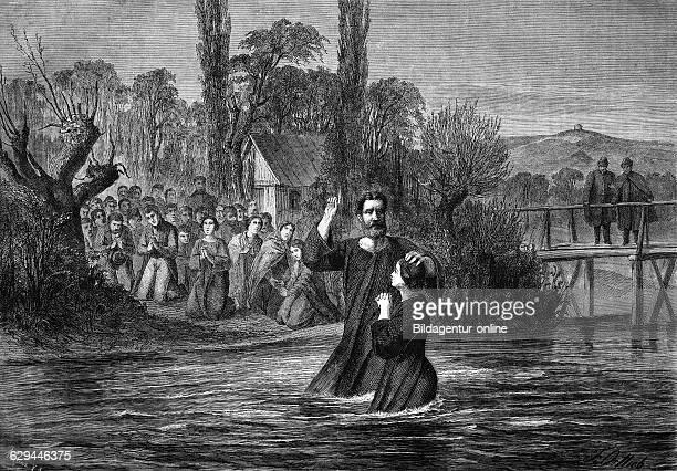 Baptism in the neckar river historical engraving 1869
