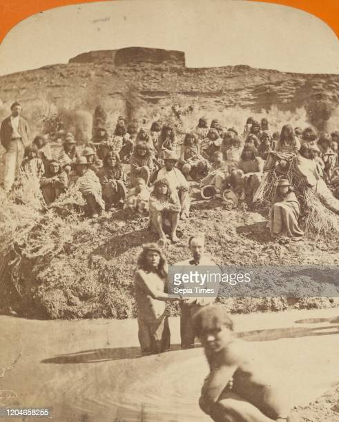 Baptism of 130 Indians of the Shebit Nation at St George by The Mormons CR Savage about 1870 Albumen silver print
