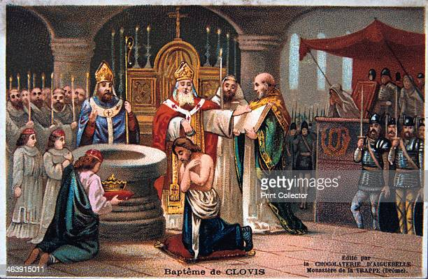 Baptism of Clovis 496 AD Clovis I King of the Franks converted to Christianity and was baptized in 496 AD Card from a series produced by the...