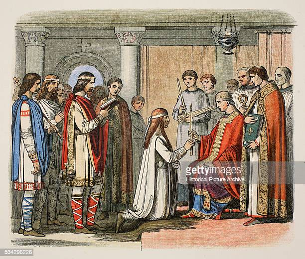 Baptism of King Guthorm with King Alfred as his godfather who gave the king the new name of Athelstan and acknowledged him as the King of East Anglia...