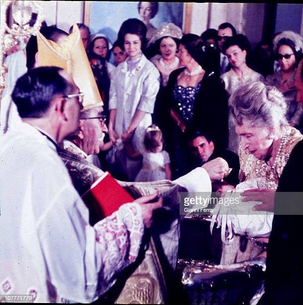 Baptism of Prince Felipe at the Pardo Palace chapel with her godmother Victoria Eugenia mother of Prince Juan Carlos of Borbon with the presence of...