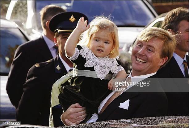 Baptism of Princess Alexia Juliana Marcela Laurentien, daughter of Prince Willem Alexander and Princess Maxima Zorreguieta of the Netherlands at the...