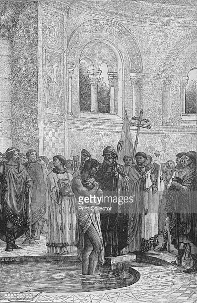 Baptism of Rollo the Pirate Chief' 1909 Baptism of the Viking chief Rollo who became the first ruler of Normandy From Harmsworth History of the World...