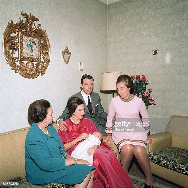 Baptism of Simoneta Gomez Acebo who is the daughter of Pilar de Borbon and Luis Gomez de Acebo Badajoz dukes and Margarita de Borbon Barcelona...