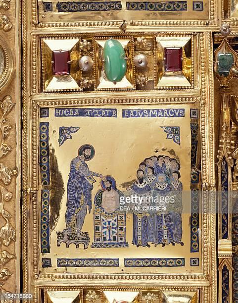 Baptism of St Mark Pala d'Oro altarpiece St Mark's Basilica Venice Goldsmith art Italy 12th14th century Detail