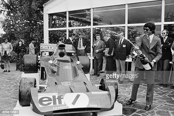 Baptism of the new Formula One TyrellFord by French driver Francois Cevert