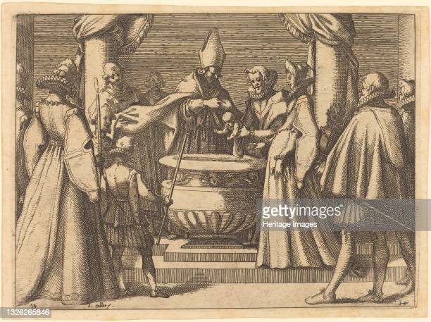 Baptism of the Prince of Spain, 1612. Artist Jacques Callot.