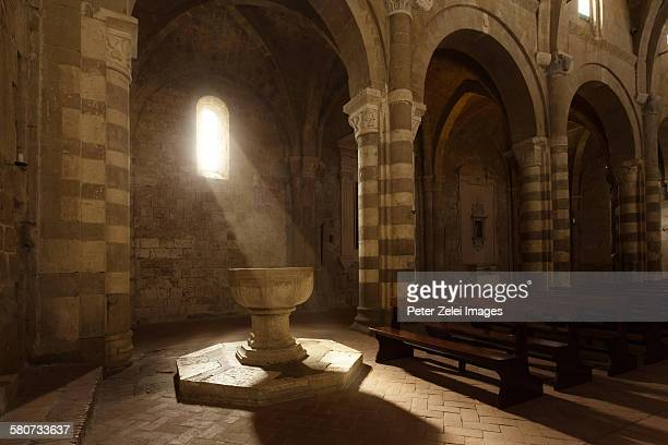 Baptismal font in an ancient cathedral