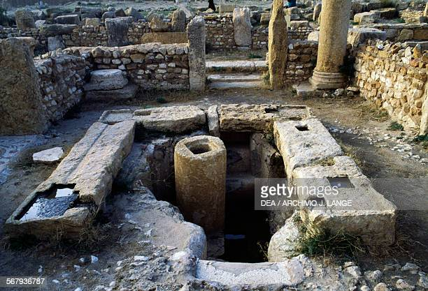 Baptismal font of the Baptistery of Bellator or Chapel of Jacundus before restoration Church of Bellator Sufetula Sbeitla Tunisia Roman civilisation...