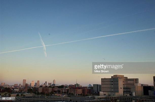 Baptist Memorial Hospital sits with the Memphis skyline moments before being imploded November 6 2005 in Memphis Tennessee The 924000 square foot...