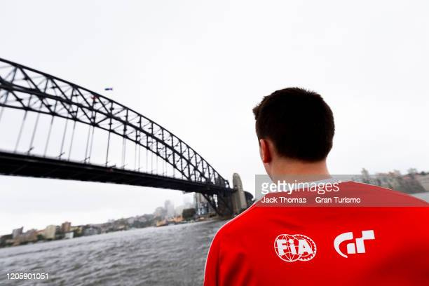 Baptiste Beauvois of France looks at the Sydney Harbour Bridge prior to Round 1 of the Gran Turismo World Tour 2020 at Luna Park on February 13 2020...