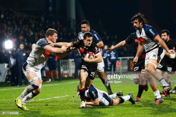 Baptiste Couilloud of Lyon and Antoine Erbani of Agen during the Top 14 match between Lyon and Agen at Gerland Stadium on January 27 2018 in Lyon...