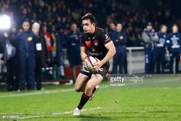 Baptiste Couilloud of Lyon and Enrico Januarie of Agen during the Top 14 match between Lyon and Agen at Gerland Stadium on January 27 2018 in Lyon...