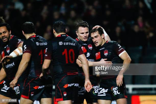 Baptiste Couilloud of Lyon and Toby Carter Arnold of Lyon during the Top 14 match between Lyon and Agen at Gerland Stadium on January 27 2018 in Lyon...