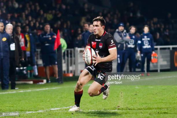Baptiste Couilloud of Lyon during the Top 14 match between Lyon and Agen at Gerland Stadium on January 27 2018 in Lyon France