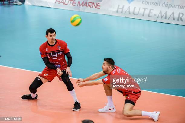 Baptiste Geiler and Martin Atanasov of Chaumont during the CEV Champions League match Chaumont 52 and SIR Safety Perugia on March 14 2019 in Reims...