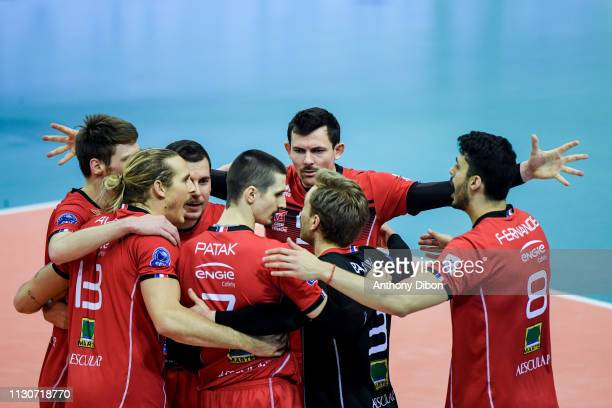 Baptiste Geiler and team of Chaumont during the CEV Champions League match Chaumont 52 and SIR Safety Perugia on March 14 2019 in Reims France