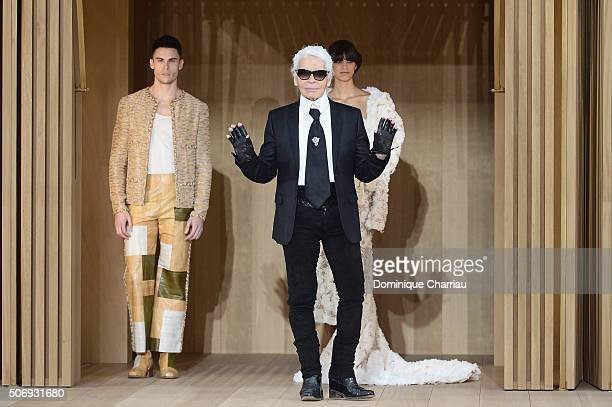 Baptiste Giabiconi a model and Karl Lagerfeld pose on the runway during the Chanel Spring Summer 2016 show as part of Paris Fashion Week on January...