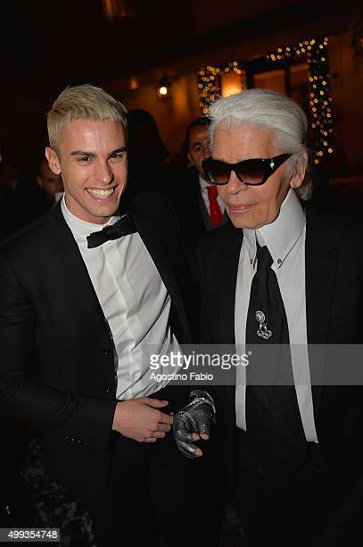 Baptiste Giabiconi and Karl Lagerfeld are seen at dinner before the Chanel Party on November 30 2015 in Rome Italy