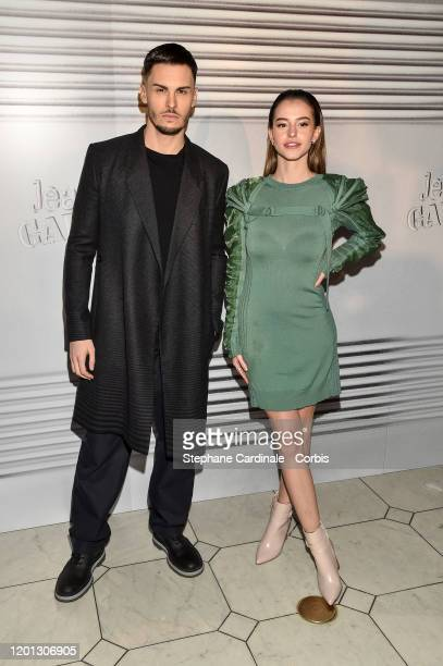 Baptiste Giabiconi and Lea Elui attends the JeanPaul Gaultier Haute Couture Spring/Summer 2020 show as part of Paris Fashion Week at Theatre Du...