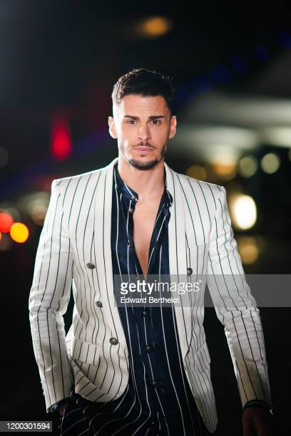 Baptiste Giabiconi attends the Balmain Menswear Fall/Winter 20202021 show as part of Paris Fashion Week on January 17 2020 in Paris France
