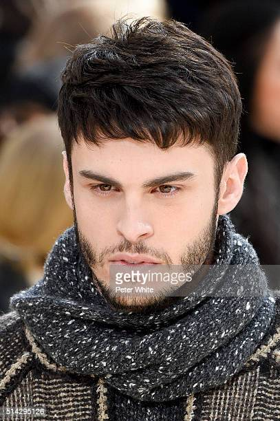 Baptiste Giabiconi detail walks the runway during the Chanel show as part of the Paris Fashion Week Womenswear Fall/Winter 2016/2017 on March 8 2016...