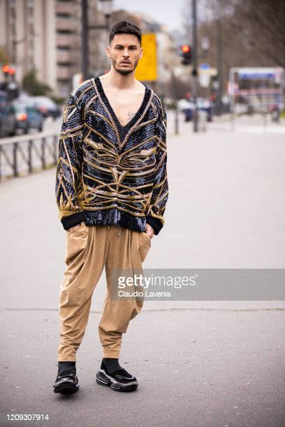Baptiste Giabiconi is seen outside Balmain fashion show on February 28 2020 in Paris France