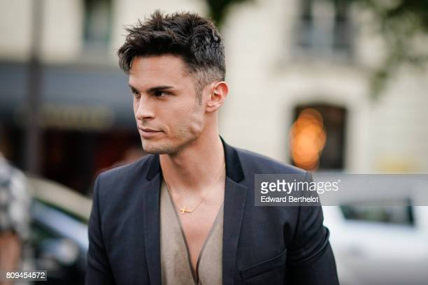 Baptiste Giabiconi is seen outside the Fendi show during Paris Fashion Week Haute Couture Fall/Winter 20172018 on July 5 2017 in Paris France
