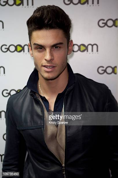 """Baptiste Giabiconi poses to promote his new single """"Showtime"""" at Goom Radio on March 2, 2011 in Paris, France."""