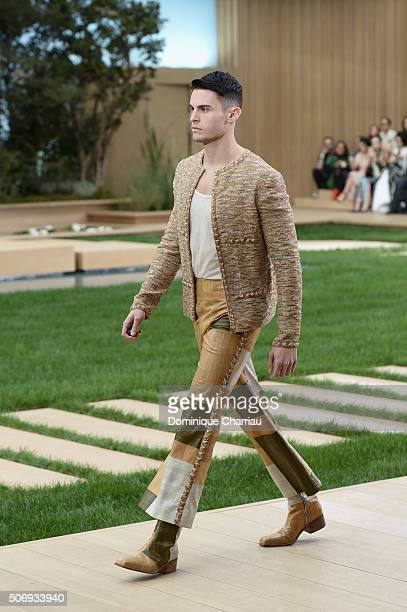 Baptiste Giabiconi walks the runway during the Chanel Haute Couture Spring Summer 2016 show as part of Paris Fashion Week on January 26 2016 in Paris...