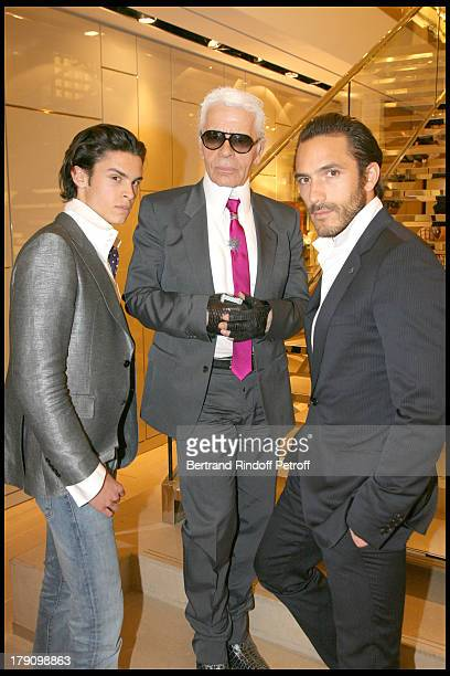 Baptiste Giacobini Karl Lagerfeld and Sebastien at Cocktail Party To Celebrate The New Collection GBag Tod's At Tod's Boutique