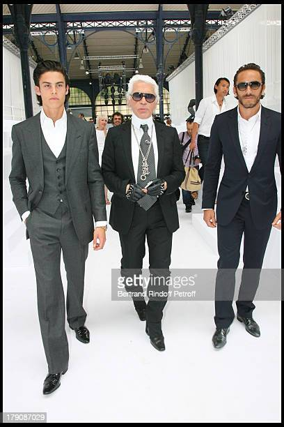 Baptiste Giacobini Karl Lagerfeld and Sebastien at Dior Men's Fashion Show Summer 2010