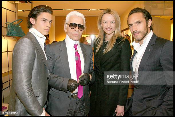 Baptiste Giacobini Karl Lagerfeld Delphine Vallarino Gancia and Sebastien at Cocktail Party To Celebrate The New Collection GBag Tod's At Tod's...