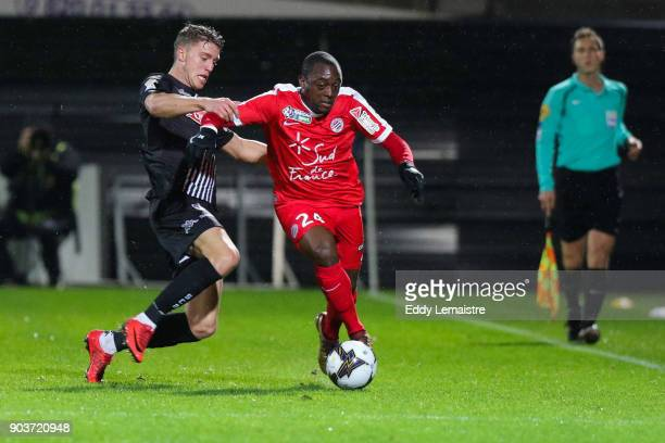 Baptiste Guillaume of Angers and Jerome Roussillon of Montpellier during the League Cup match between Angers and Montpellier at Stade Jean Bouin on...