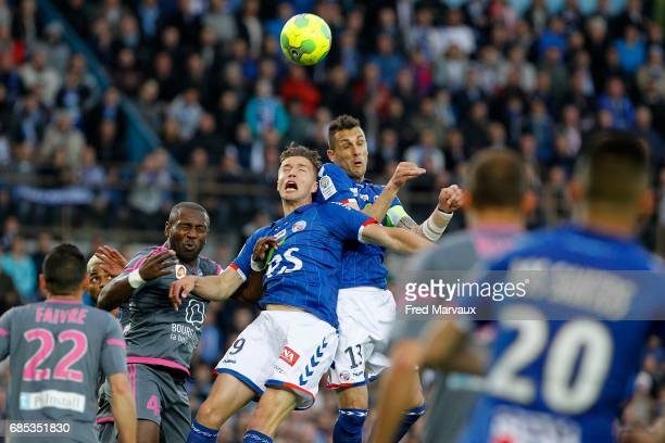 Baptiste Guillaume of Strasbourg and Jeremy Blayac of Strasbourg during the Ligue 2 match between RC Strasbourg Alsace and Bourg en Bresse on May 19...