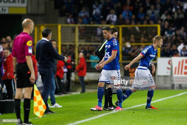 Baptiste Guillaume of Strasbourg and Jeremy Grimm of Strasbourg during the Ligue 2 match between RC Strasbourg Alsace and Bourg en Bresse on May 19...