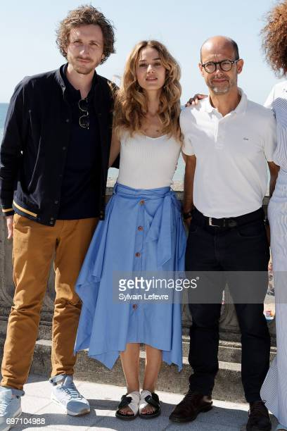 Baptiste Lecaplain Alice David Maurice Barthelemy attend 'Les ex' photocall during 4th day of 31st Cabourg Film Festival on June 17 2017 in Cabourg...